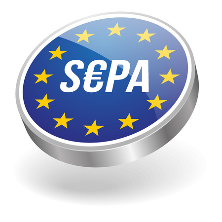 savings account: Silver sepa button Illustration