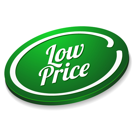 Green oval low price button Vector
