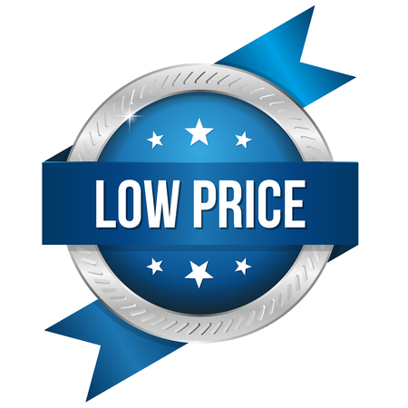 lowest: Blue silver low price badge