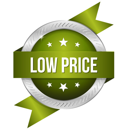 lowest: Green silver low price badge