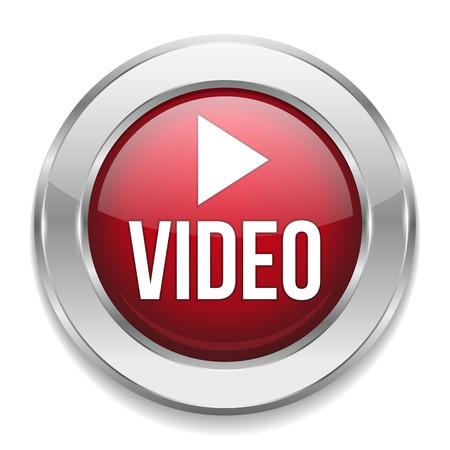 赤い銀ビデオ ボタン  イラスト・ベクター素材