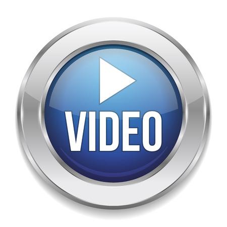 파란색 은색 비디오 버튼 일러스트