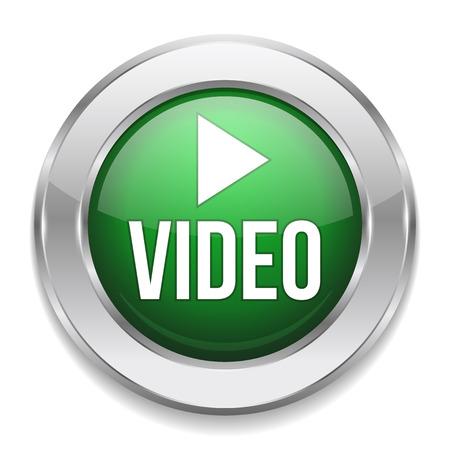 Green silver video button Vector
