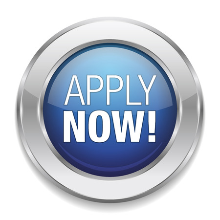 apply: Round blue apply now button Illustration