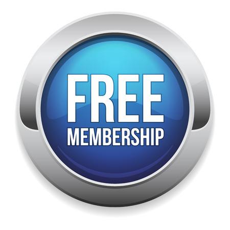 Round blue free membership button
