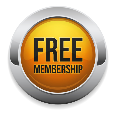 membership: Round yellow free membership button
