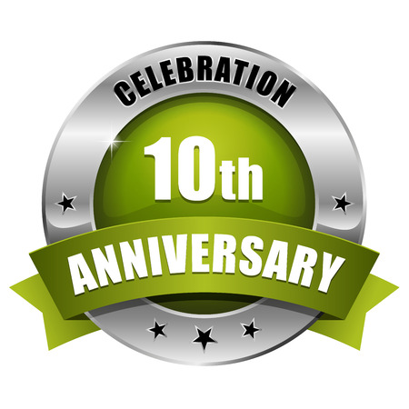 Silver green ten year anniversary badge Vector