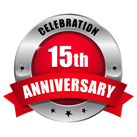 Silver red fifteen year anniversary badge Vector