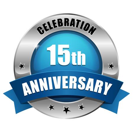 Silver blue fifteen year anniversary badge Illustration