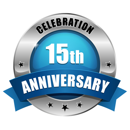 Silver blue fifteen year anniversary badge Vector
