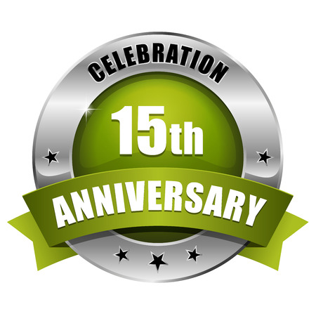 Silver green fifteen year anniversary badge Vector