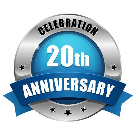 Silver blue twenty year anniversary badge Illustration