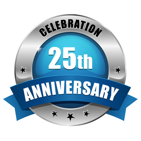 Silver blue twenty-five year anniversary badge