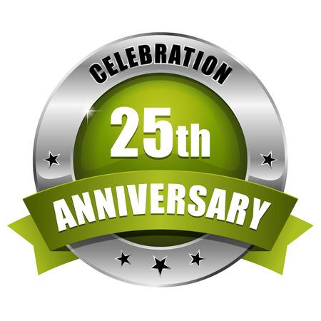 Silver green twenty-five year anniversary badge