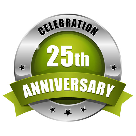 Silver green twenty-five year anniversary badge Vector
