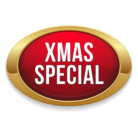 赤い楕円形のクリスマス特別なボタン  イラスト・ベクター素材