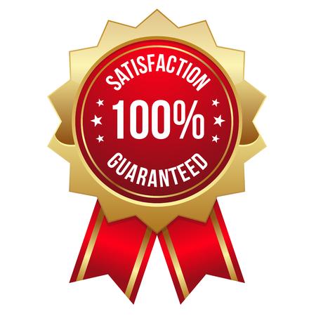 Risk Free: Red gold hundred percent satisfaction badge