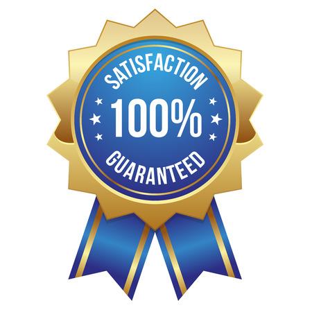 Blue gold hundred percent satisfaction badge Illustration
