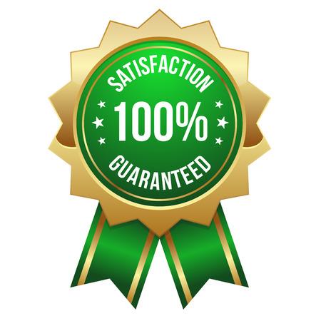 緑金 100 パーセント満足バッジ  イラスト・ベクター素材
