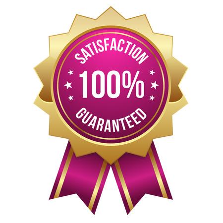 ピンク ゴールド 100 パーセント満足バッジ  イラスト・ベクター素材