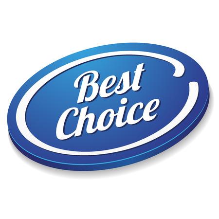 Blauwe ovale beste keuze-knop