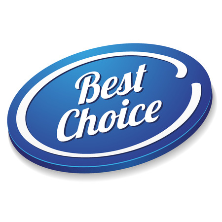 best choice: Blue oval best choice button