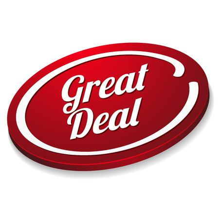 Red oval great deal button Vector