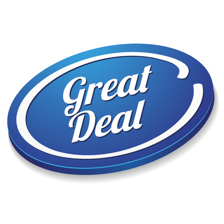 Blue oval great deal button Illustration