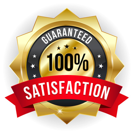 Gold red hundred percent satisfaction badge