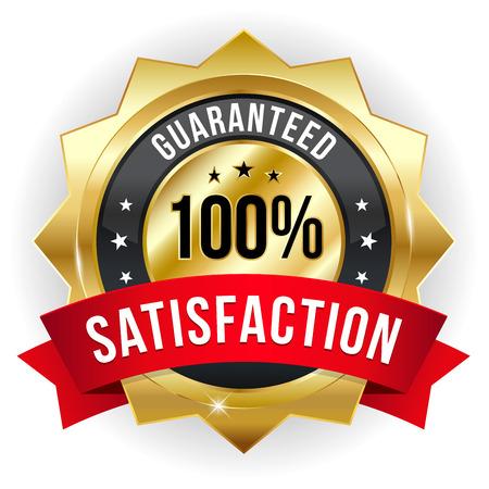 Goud rood honderd procent tevredenheid badge