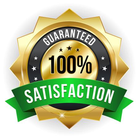 Gold green hundred percent satisfaction badge