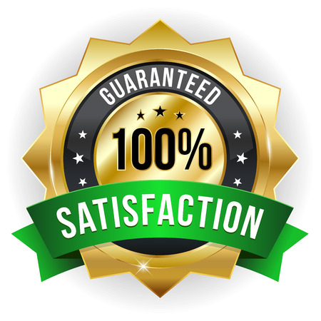 Gold green hundred percent satisfaction badge
