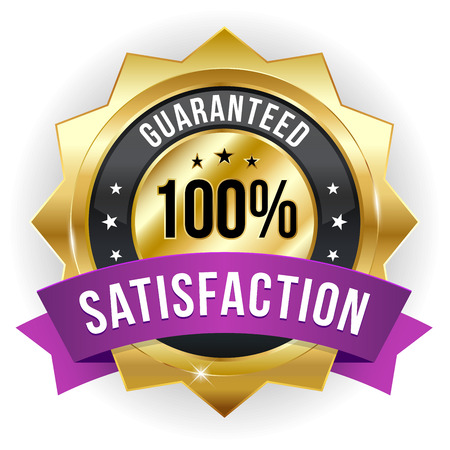 Gold purple hundred percent satisfaction badge Vector