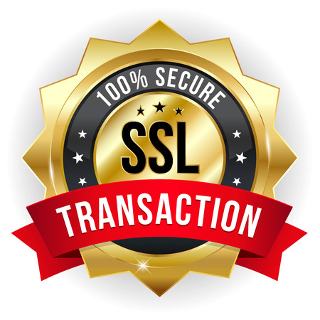 Gold red secure transaction badge Иллюстрация