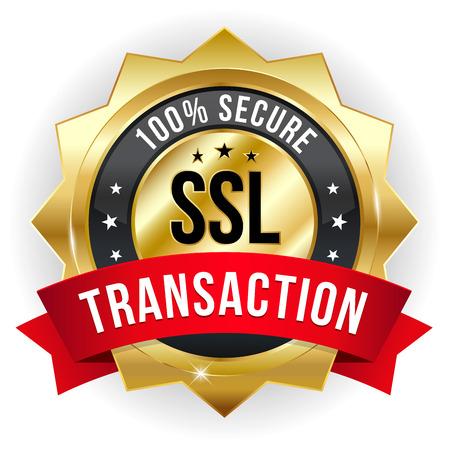 secured: Gold red secure transaction badge Illustration