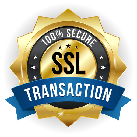 secure payment: Gold blue secure transaction badge
