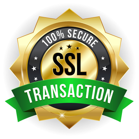 Gold green secure transaction badge