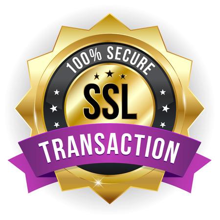 Gold purple secure transaction badge Vector