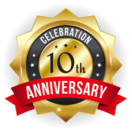 Gold red ten year anniversary badge with ribbon Illustration