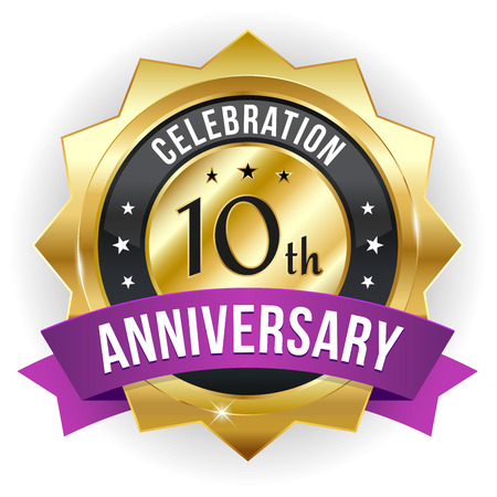 Gold purple ten year anniversary badge with ribbon Vector