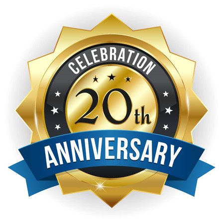 Gold blue twenty year anniversary badge with ribbon Illustration