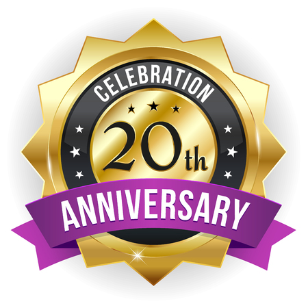 Gold purple twenty year anniversary badge with ribbon Vector
