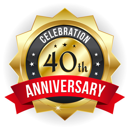 40 years: Gold red forty year anniversary badge with ribbon Illustration