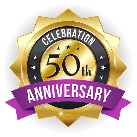 Gold purple fifty year anniversary badge with ribbon Vector