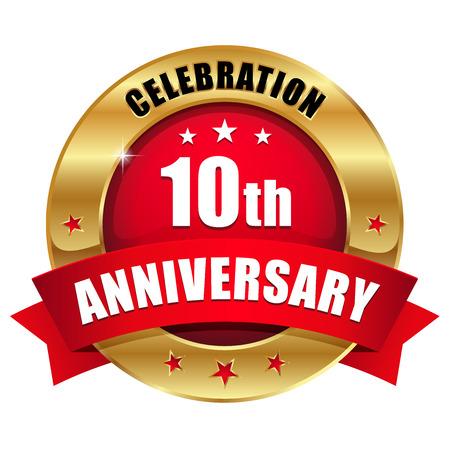 赤の金 10 年周年記念バッジ  イラスト・ベクター素材