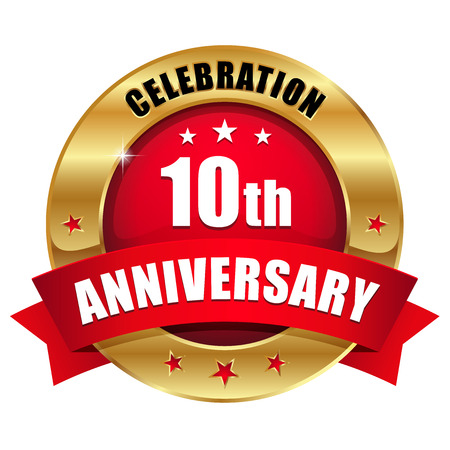 Red gold ten year anniversary badge
