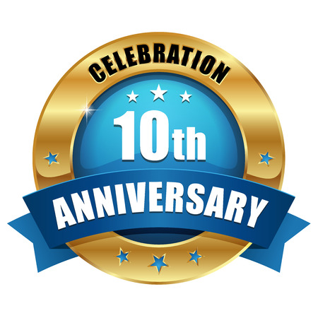 ブルーのゴールド 10 年周年記念バッジ  イラスト・ベクター素材