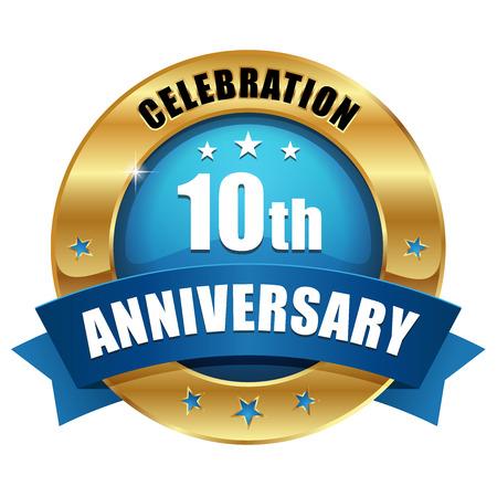 El oro azul diez años insignia aniversario Foto de archivo - 23815777