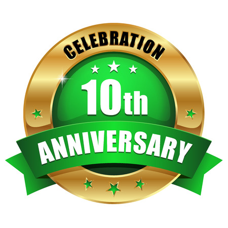 Green gold ten year anniversary badge Vector