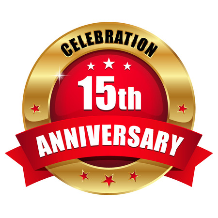 Red gold fifteen year anniversary badge
